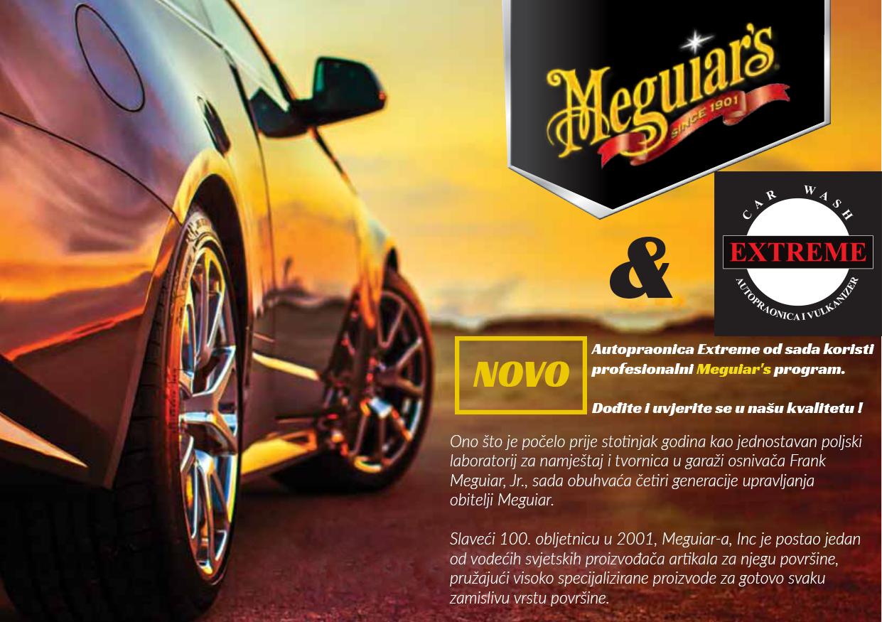 Autopraonica Extreme od sada koristi profesionalni Meguiar's program.